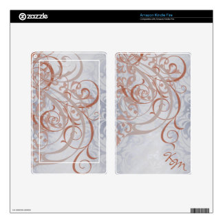 Vintage Rococo Monogram Peach & Silver Kindle Kindle Fire Skins