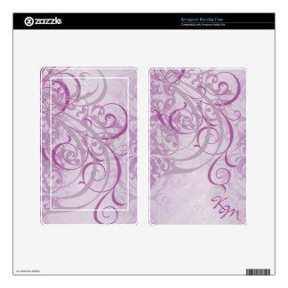 Vintage Rococo Monogram Pink Scroll Kindle Skin