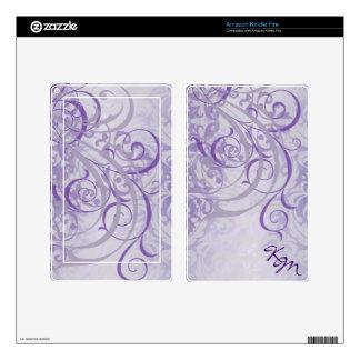 Vintage Rococo Monogram Purple Scroll Kindle Skin