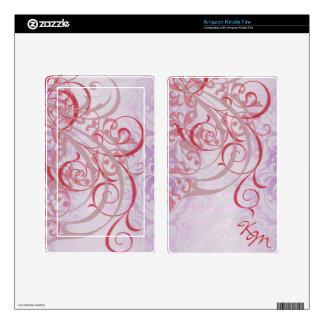 Vintage Rococo Monogram Red & Pink Kindle Skin