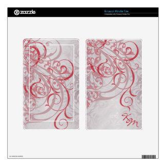 Vintage Rococo Monogram Red Scroll Kindle Skin