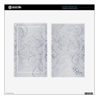 Vintage Rococo Monogram Silver Scroll Kindle Skin