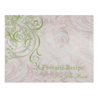 Vintage Rococo Olive Bridal Shower Recipe Card