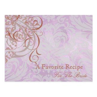 Vintage Rococo Orange Bridal Shower Recipe Card