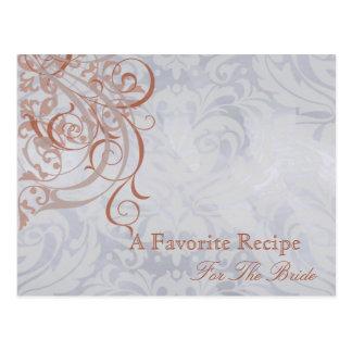Vintage Rococo Peach Bridal Shower Recipe Card Postcard