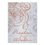 """Vintage Rococo Peach & Silver Damask Invitation 5"""" X 7"""" Invitation Card"""