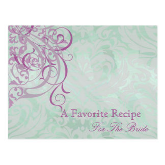 Vintage Rococo Pink Bridal Shower Recipe Card Postcard