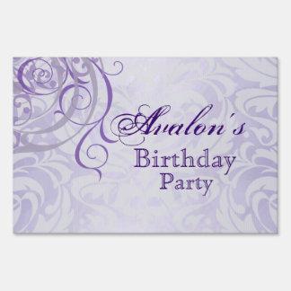 Vintage Rococo Purple Birthday Yard Sign