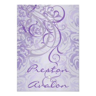 "Vintage Rococo Purple Scroll Damask Invitation 5"" X 7"" Invitation Card"
