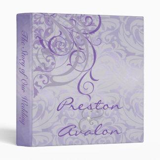 Vintage Rococo Purple Scroll Damask Wedding Binder