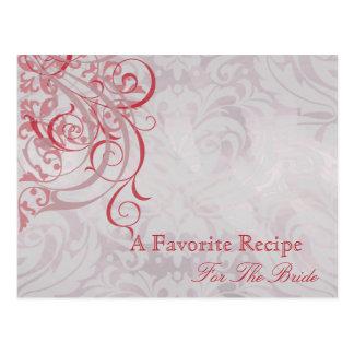 Vintage Rococo Red Bridal Shower Recipe Card