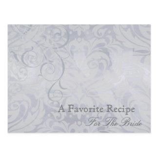 Vintage Rococo Silver Bridal Shower Recipe Card Postcard