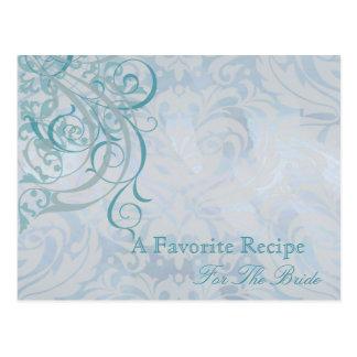 Vintage Rococo Teal Bridal Shower Recipe Card