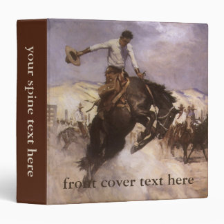 Vintage Rodeo Cowboy, Breezy Riding by WHD Koerner 3 Ring Binder