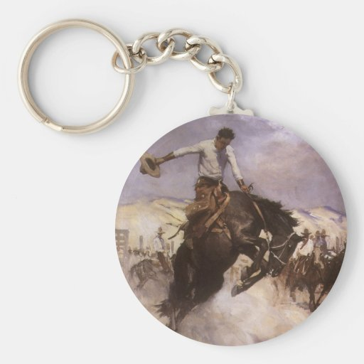 Vintage Rodeo Cowboy, Breezy Riding by WHD Koerner Basic Round Button Keychain