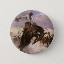 Vintage Rodeo Cowboy, Breezy Riding by WHD Koerner Button
