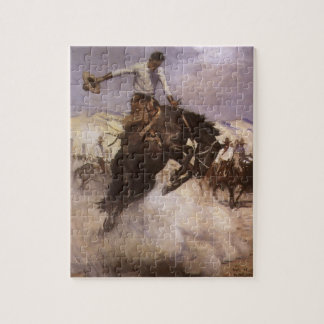 Vintage Rodeo Cowboy, Breezy Riding by WHD Koerner Jigsaw Puzzle