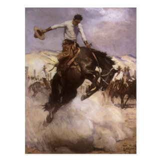 Vintage Rodeo Cowboy, Breezy Riding by WHD Koerner Postcard