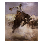Vintage Rodeo Cowboy, Breezy Riding by WHD Koerner Poster
