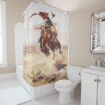 Vintage Rodeo Cowboy Bronc Rider Shower Curtain at Zazzle
