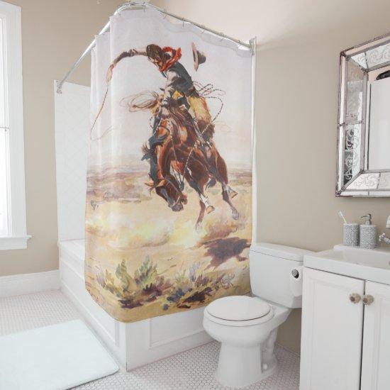 Vintage Rodeo Cowboy Bronc Rider Shower Curtain
