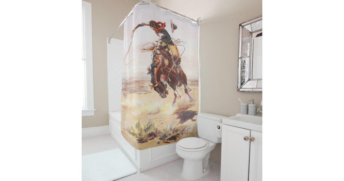 Vintage Rodeo Cowboy Bronc Rider Shower Curtain   Zazzle.com
