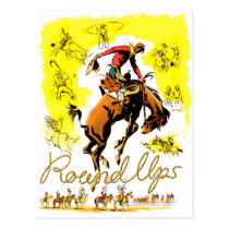 Vintage Rodeo Cowboy Round Ups Postcard