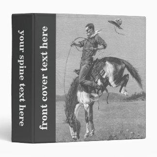 Vintage Rodeo Cowboys, Bucking Bronco by Remington 3 Ring Binder