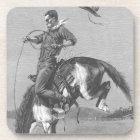 Vintage Rodeo Cowboys, Bucking Bronco by Remington Beverage Coaster