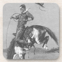 Vintage Rodeo Cowboys, Bucking Bronco by Remington Beverage Coaster