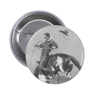 Vintage Rodeo Cowboys, Bucking Bronco by Remington 2 Inch Round Button
