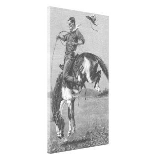 Vintage Rodeo Cowboys, Bucking Bronco by Remington Canvas Print