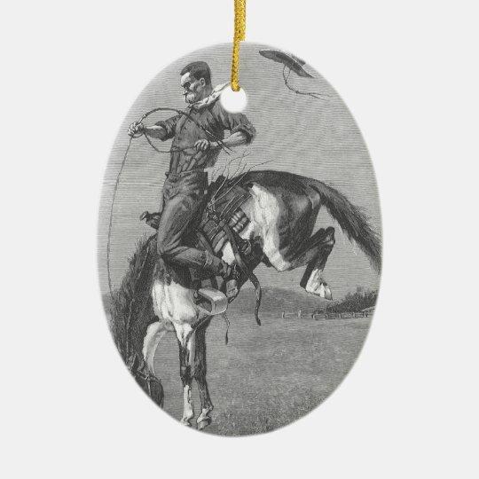 Vintage Rodeo Cowboys, Bucking Bronco by Remington Ceramic Ornament