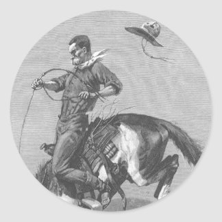 Vintage Rodeo Cowboys, Bucking Bronco by Remington Classic Round Sticker