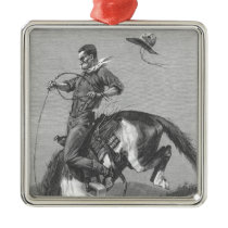 Vintage Rodeo Cowboys, Bucking Bronco by Remington Metal Ornament