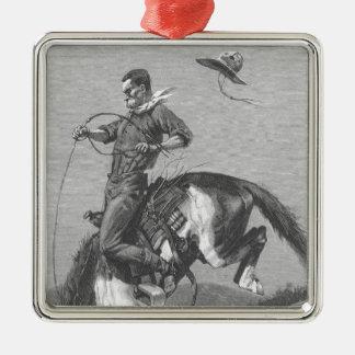 Vintage Rodeo Cowboys, Bucking Bronco by Remington Metal Ornament