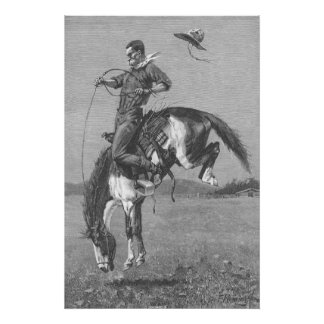 Vintage Rodeo Cowboys, Bucking Bronco by Remington Poster