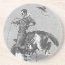 Vintage Rodeo Cowboys, Bucking Bronco by Remington Sandstone Coaster
