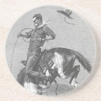Vintage Rodeo Cowboys, Bucking Bronco by Remington Sandstone Coaster