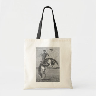 Vintage Rodeo Cowboys, Bucking Bronco by Remington Tote Bag