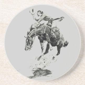 Vintage Rodeo Cowgirl Sandstone Drink Coaster