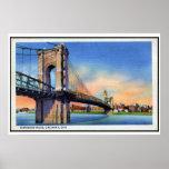 Vintage Roebling Suspension Bridge, Cincinnati, OH Poster