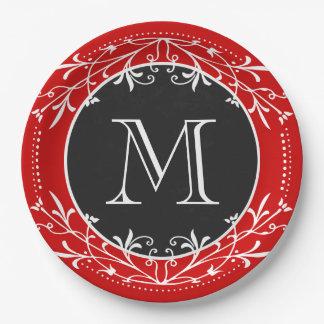 Vintage rojo, blanco y negro del monograma plato de papel de 9 pulgadas