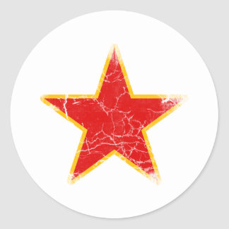 Vintage rojo comunista de la estrella pegatina redonda