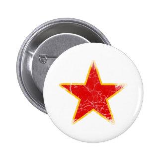 Vintage rojo comunista de la estrella pin redondo 5 cm