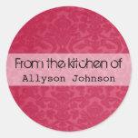 Vintage rojo de la cocina de pegatinas etiqueta redonda