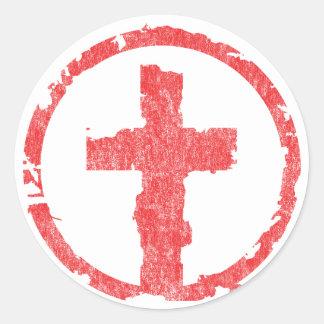 Vintage rojo de la cruz del Grunge Pegatina Redonda