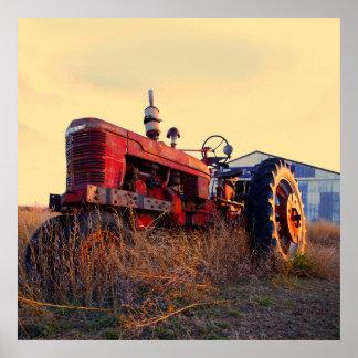 vintage rojo de la máquina del tractor viejo póster