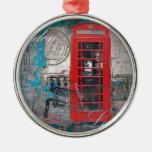 Vintage rojo de la señal de la cabina de teléfono  ornatos