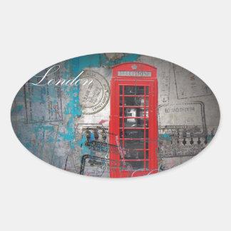 Vintage rojo de la señal de la cabina de teléfono pegatina ovalada